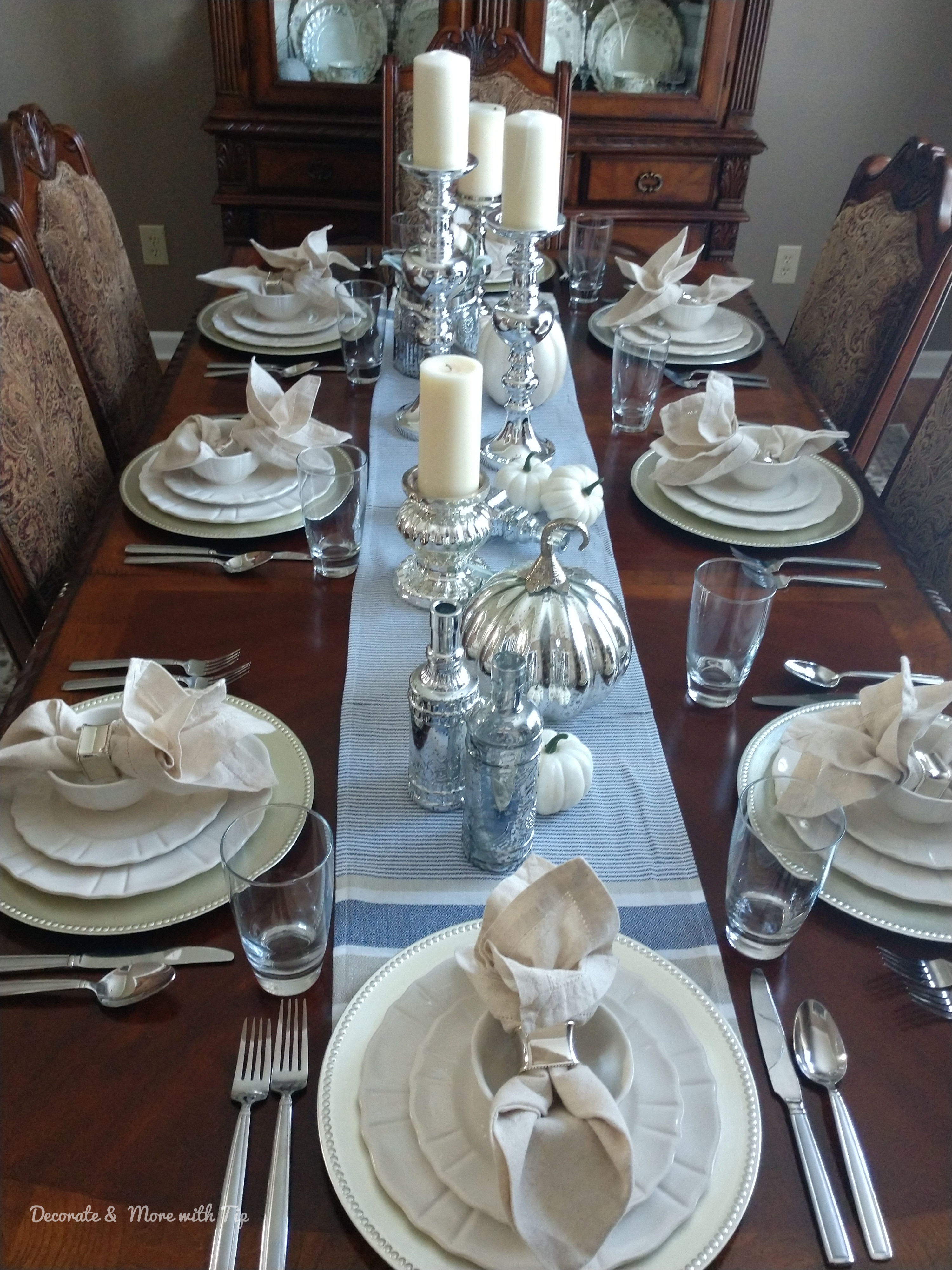 My Blue And Silver Budget Friendly Thanksgiving Tablescape